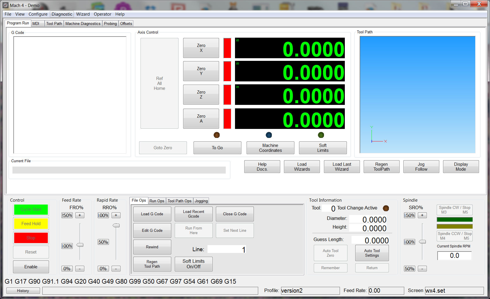 Mach3 cnc control software for windows 32 bit systems - Main Screen
